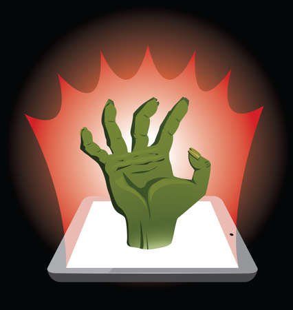 horror movie: Watching of horror movie. Zombie hand coming out of tablet. Illustration