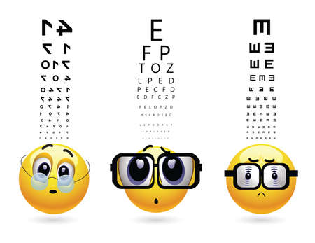 diopter: Smileys with different types of glasses on eye examination. Medical eye test and diopter determination.