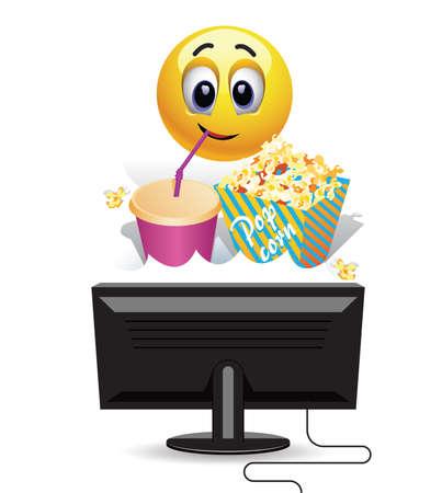 Smiley ball enjoying watching a movie at home. Smiley ball enjoying watching a movie at home. Smiley ball watching a movie on tv and eating popcorn.