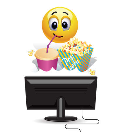 Smiley ball enjoying watching a movie at home. Smiley ball enjoying watching a movie at home. Smiley ball watching a movie on tv and eating  popcorn. Illustration