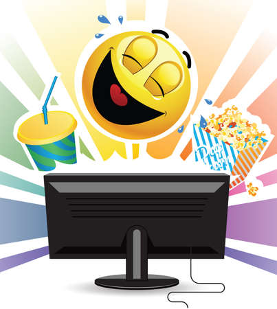 Smiley laughing while watching comedy movie on TV. Smiley laughing while watching comedy movie on TV. Smiley ball watching a movie on tv and eating  popcorn.