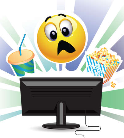 home theater: Smiley being shocked while watching movie on TV. Smiley ball watching a TV and eating  popcorn. Illustration