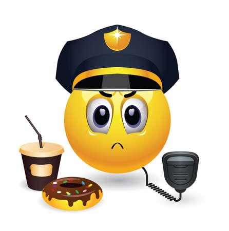 respetar: Ilustración del estereotipo de un oficial de policía equipado con walkie talkie, café y donuts. Estricta oficial de policía sonriente en servicio.
