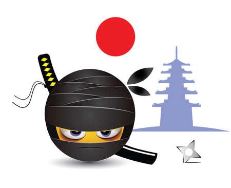Illustration of a ninja warrior. Traditional school of martial arts. Illustration