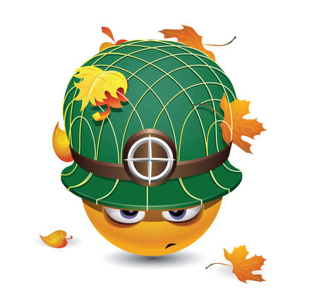 coldblooded: Smiley ball as soldier. Smiley with army helmet covered with leafs.