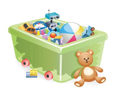 A variety of childrens toys. Set of different toys for children. Vector illustration. Storing toys for children.