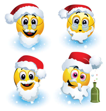 Smileys dressed in various Santa Claus costumes standing on the snow. Smiley celebrating. Smiley being cheerful and having fun at the party.