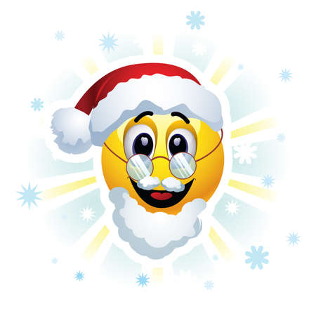 celebration smiley: Happy New Year greeting card. Smileys dressed as Santa Claus. Smiley celebrating. Smiley being cheerful and having fun at the party. Illustration