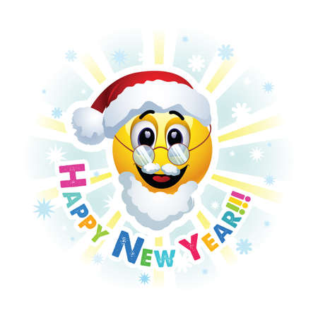 having fun: Happy New Year greeting card. Smileys dressed as Santa Claus. Smiley celebrating. Smiley being cheerful and having fun at the party. Illustration