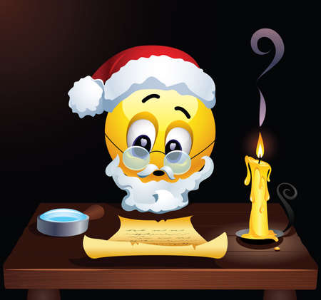 Smiley as Santa Clause reading letters from children. Santa Clause fulfills children's wishes. Vector illustration.