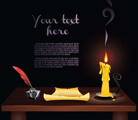 writing letter: Vintage writing instruments. Letter written on old piece of paper, ink and feather quill pen standing beside candle on the desk. Old times. Wide copy space for text.