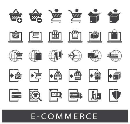troley: Premium quality icon set for e-commerce. Illustration