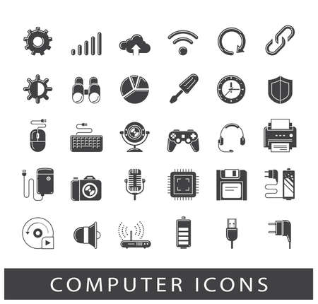Set of computer icons. Premium quality vector illustration icons. Collection of icons for web and communication technology. Illustration