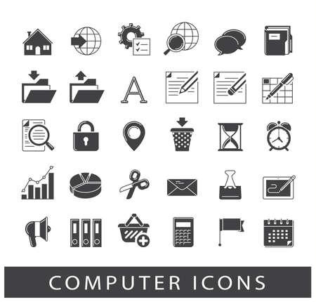 Set di icone del computer. Icone per la tecnologia web e la comunicazione. Raccolta di icone di computer di alta qualità.