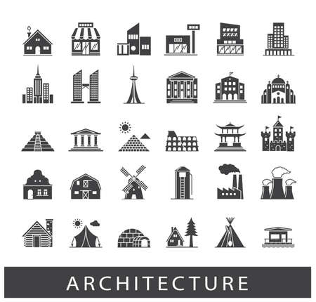 Buildings and architecture icons set. Various styles and building purposes. Buildings for living and work, monumental buildings. Collection of building and landmark icons.