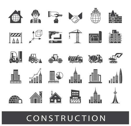 civil construction: Set of construction icons. Collection of vector icons presenting various stages of building process. Civil engineering. Work on construction site.
