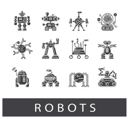 electronics industry: Vector set of various types of robots. Collection of robot icons.