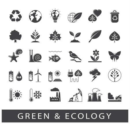 consciousness: Set of ecology icons. Bio alternative for pollution, prevention of global warming. Green power, nature, preservation, care, social consciousness. Vector illustration. Illustration
