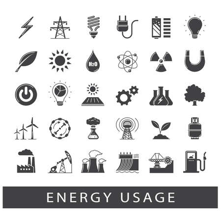 force of the wind: Set of energy icons. Various energy sources. Various kinds of energies for use in industry and everyday life. Solar energy, bio alternative, fuel, electricity, nuclear, wind power, gas. Vector illustration. Illustration