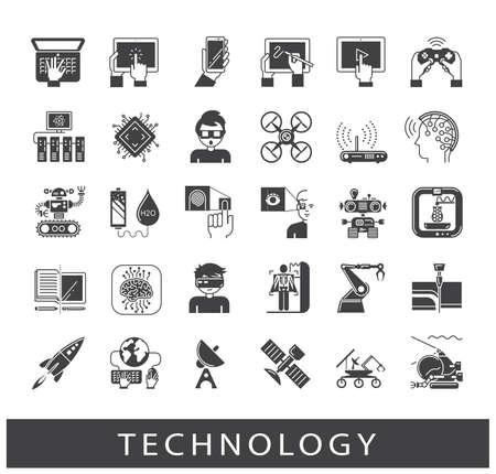Conjunto de iconos de la tecnología. Varios iconos de alta tecnología. Ilustración de vector