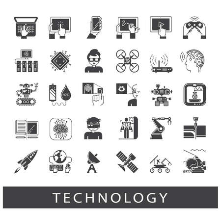 Zestaw ikon technologii. Różne ikony high-tech. Ilustracje wektorowe