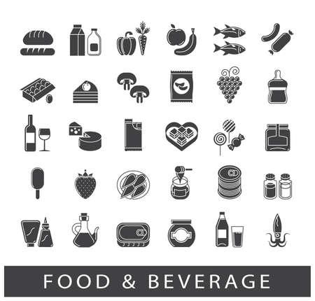 Colección de iconos de alimentos y bebidas. Conjunto de productos alimenticios. Ilustración del vector.