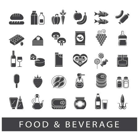 Collection of food and beverage icons. Set of food stuffs. Vector illustration.