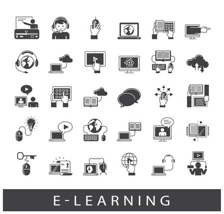 science symbols metaphors: Collection of e-learning icons. Icons of distance learning, cloud computing, online learning and e book.