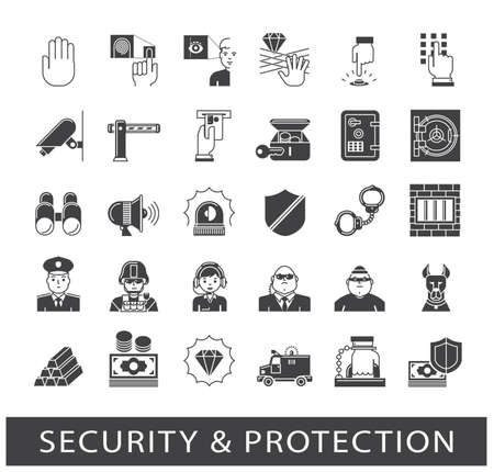 watchdog: Set of premium quality security and protection icons. Collection of web safety icons.