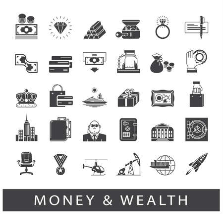 grandeur: Set of premium quality money and wealth icons. Collection of financial icons.