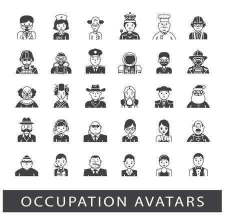 female soldier: Set of avatar icons. Collection of avatar icons related to professional occupation.