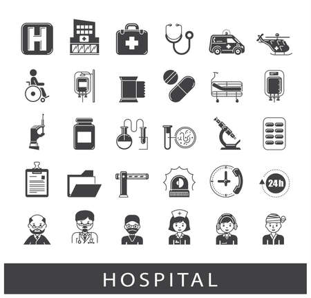 Set of premium quality icons related to medicine, hospital, emergency.