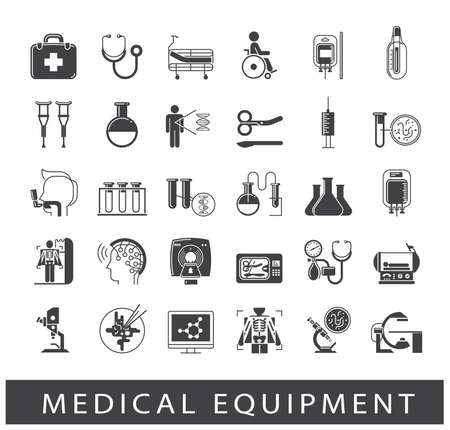 Collection of icons related to medicine equipment, hospital, emergency. Vector illustration.