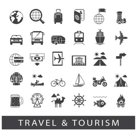 tourism: Collection of icons.for travel, journey, vacation, trips, means of transport. Infographics elements collection. Web graphics.