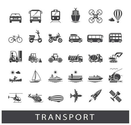 means of transportation: Various means of transportation road, rail, air, water transport. Various types of  vehicles. Collection of vector icons.