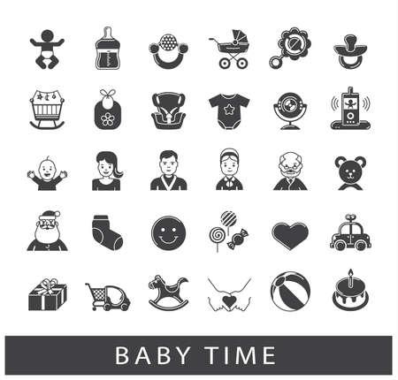 Collection d'icônes de temps de bébé. Première année de la parentalité. Accessoires pour le nouveau-né dans la famille. L'amour, les soins, la vie de famille.
