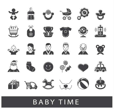 love life: Collection of baby time icons. First year of parenting. Accessories for newborn in the family. Love, care, family life.