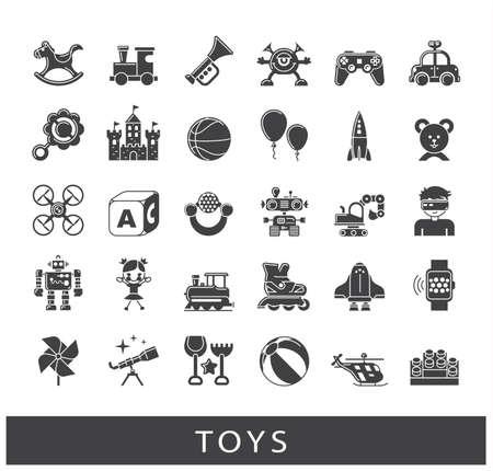 El juego y los juegos de iconos. Recogida de juguetes para niños. Niñez ilustración vectorial divertido. Foto de archivo - 69258448