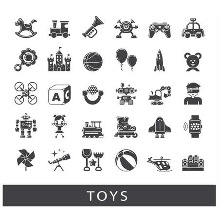 Play and games icons. Collection of toys for children. Childhood fun vector illustration. Stock Vector - 69258448