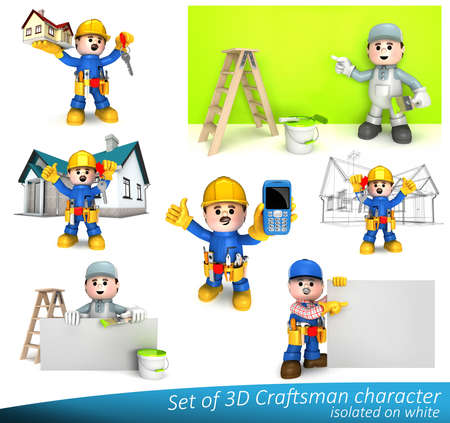 house call: Lovable mascots can be used as great presentation of construction craft and handyman companies. High quality 3D isolated on white. Stock Photo