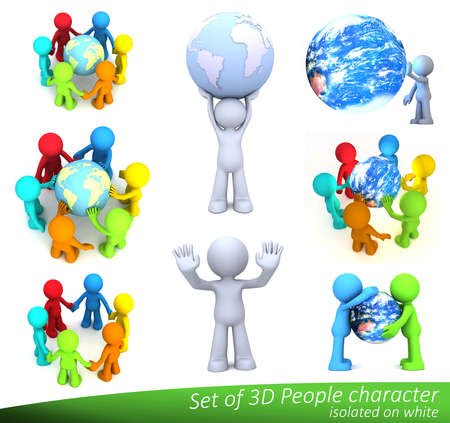 3D people character touching planet Earth isolated on white. Elements of this image furnished by NASA.