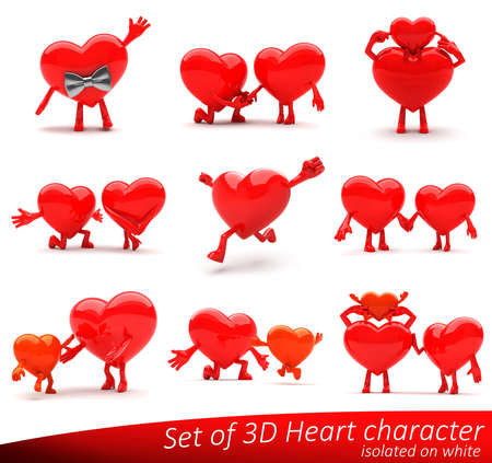 Lovable heart mascots presenting love, emotions, romance, family hapiness and health. Ideal for advertisement or as a part of a logo. Isolated on white. Stock Photo