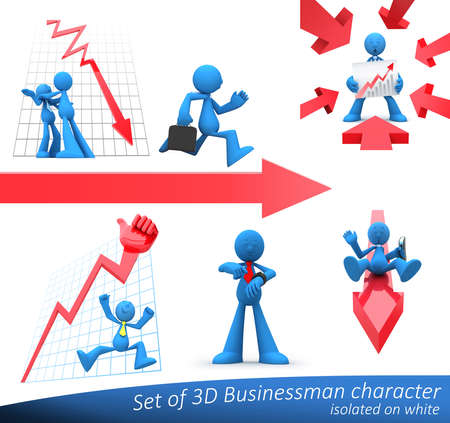 Businessmen presenting economic situations of growth, decline, good or bad time for business. Isolated on white.