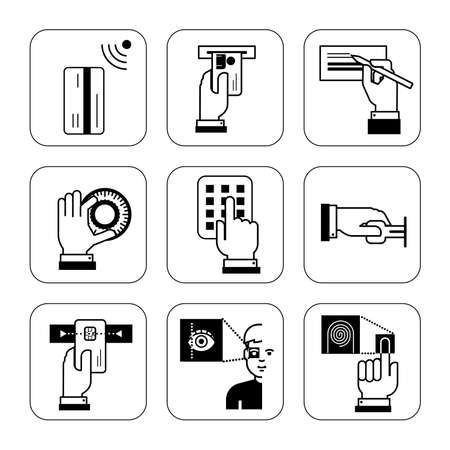 information systems: Set of information signs for security systems at banks, explanation of how to use safe and enter restricted area. Collection of signs which describe usage of credit cards, safety system, self service cash registers and other public service machines.