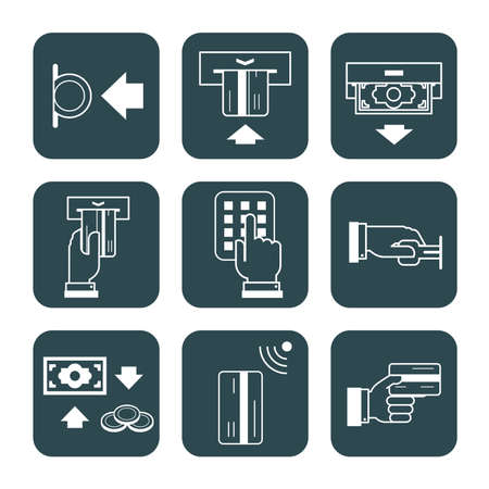 logging: Collection of signs which describe usage of credit cards, tokens, coins, safety system.