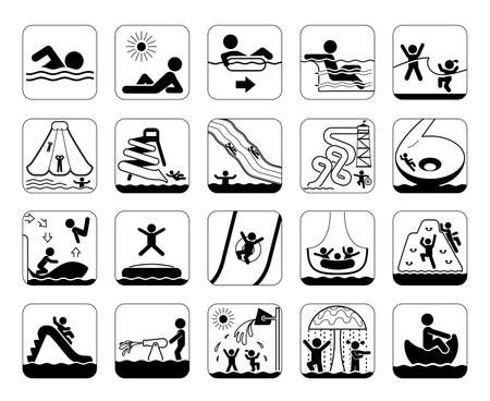 toboggan: Very useful and usable set of icons for aqua parks and swimming pools. Collection of premium quality pictograms and signs for aqua park providing information, bans and warnings for swimming pool visitors. Water park. Summer fun.
