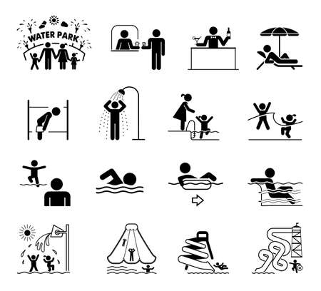 water icon: Very useful and usable set of icons for aqua parks and swimming pools. Collection of premium quality pictograms and signs for aqua park providing information, bans and warnings for swimming pool visitors. Water park. Summer fun.