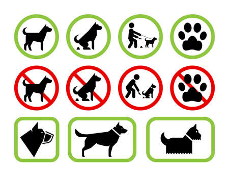 public space: Signs of restriction and permission regarding pet dogs. Set of pet friendly and pet restriction signs providing information for owners on level of tolerance for their pets using public space. Vector no dog poop sign.
