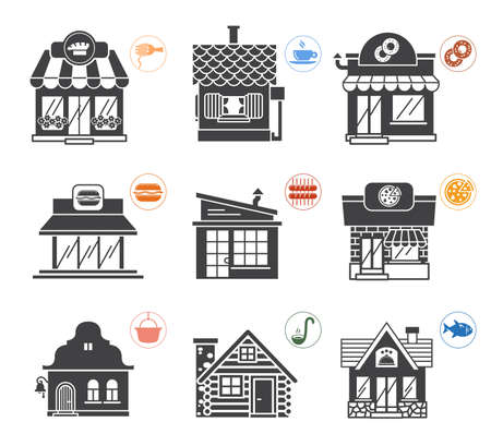culinary tourism: Collection of nine illustrations of restaurants of a various design and purpose from traditional and classic to modern fast food restaurants. Illustration