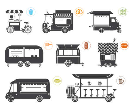 movable: Collection of eight vehicles and trailers of different design and purpose which are used as promo stands, movable stalls, lodge, kiosks and sales objects. Illustration